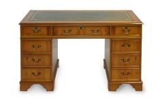 Originele Klassiek Engelse chesterfield bureau Mahonie hout met leder.jpg